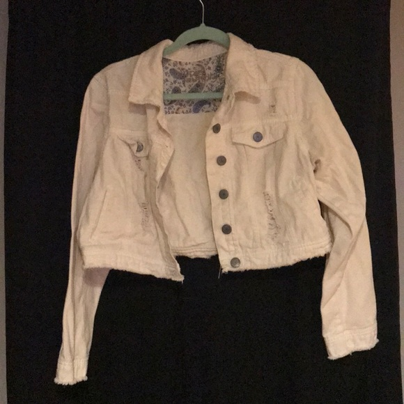 hippie laundry Jackets & Blazers - White distressed cropped jean jacket